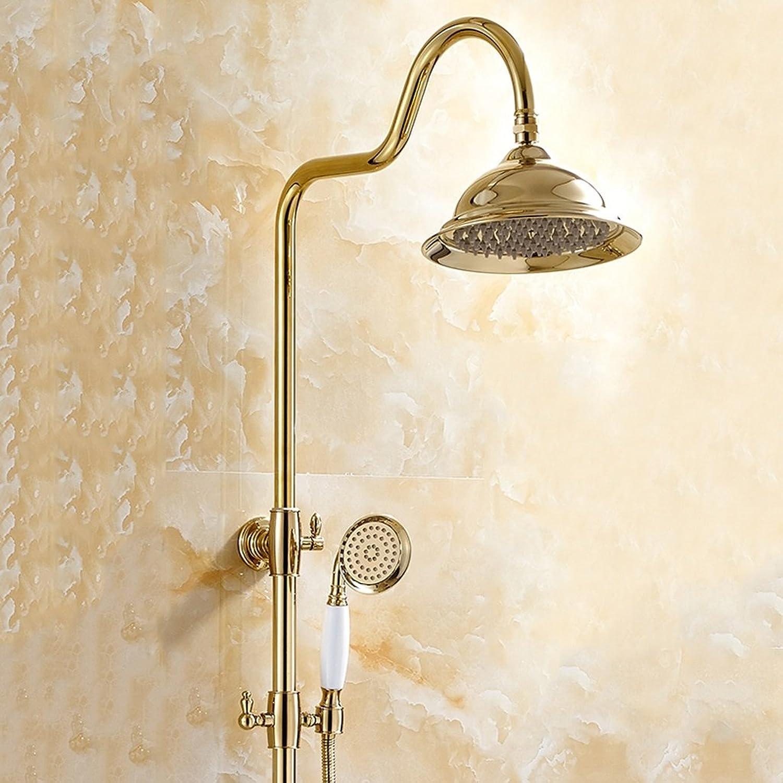 Full Copper European gold bluee And White Porcelain Shower Sprinkler Lift Shower Shower Set Hot And Cold Shower Shower Gilded ( color   All copper )