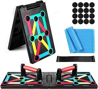 comprar comparacion TOMSHOO 12-en-1 Push Up Board, Tablero Plegable Multifuncional con Código de Color, Mango, Banda Elástica para Ejercicios ...