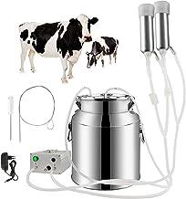 Portable Cow Milking Machine, 7L/14L Pulsation Vacuum Pump Milker, Electric Livestock Milking Equipment w/Food-Grade Bucke...