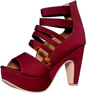 SAPIN Women's Maroon Lakra Heels (Lakrapf-Ch)
