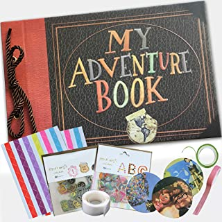 My Adventure Photo Album - Embossed Cover -Handmade DIY Pixar Up Movie- Family Scrapbook Photo Album - Includes Everything to Make The Perfect Memory Book - 80 Pages