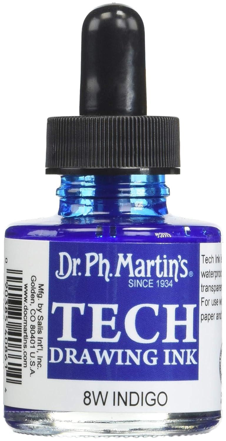 Dr. Ph. Martin's TECH Drawing Ink (8W) Ink Bottle, 1.0 oz, Indigo, 1 Bottle