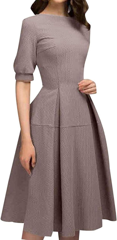 Women Ladies Half Sleeve Casual Vintage Work Office A Line Knee Length Dress