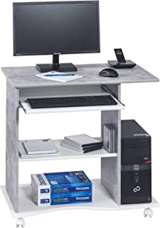 MAJA meuble pour ordinateur, béton, Betonoptik-Weiß Uni, 80 x 75 x 50 cm
