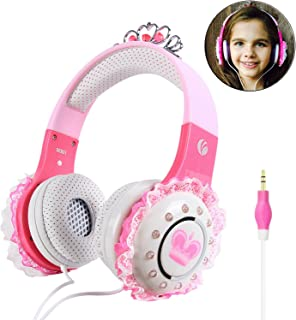VCOM Wired Girls Headphones, Over Ear Stereo Princess Headset Children Kids Earphones with 92dB Volume Limited, 3.5mm Jack Compatible for iPad Tablets Kindle Fire PC Laptops Smartphone MP3/4 (Pink)