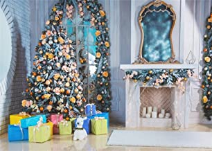Leowefowa 7X5FT Christmas Backdrop Decoration Tree Gifts Fireplace Candles Mirror Balls Carpet Shining Lights Interior Vinyl Photography Background Kids Children Adults Photo Studio Props