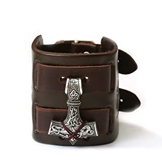 HAQUIL Viking Bracelet for Men, Viking Mjolnir Pendant, Nordic Brown Wide Leather Wristband, Viking Jewelry Men