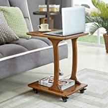 Sofa Side Table End Tables Sofa Side,Table C-Shaped with Storage Shelf Mobile Sofa Table On Wheels Snack Table Living Room...
