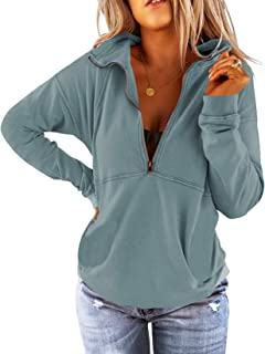 Floral Find Women's Long Sleeve Lapel Half Zip Up Sweatshirt Solid Stylish Loose Fit Casual Pullover Tops
