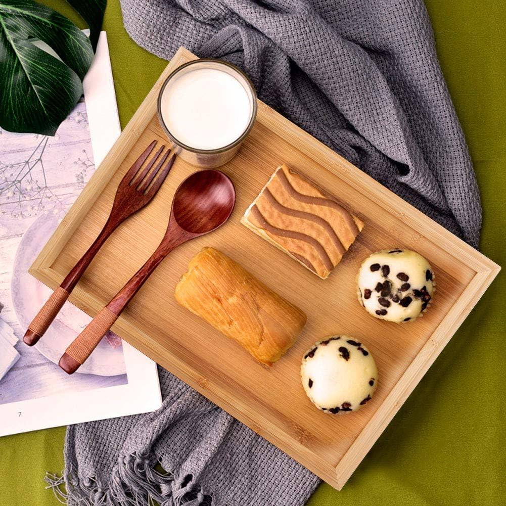 Plateau de service de cuisine cuisine de m/énage rectangulaire en bambou plateau de service de nourriture plateau de th/é pour g/âteau de collation barbecue L 44,3 * 32,3 * 2,2 cm