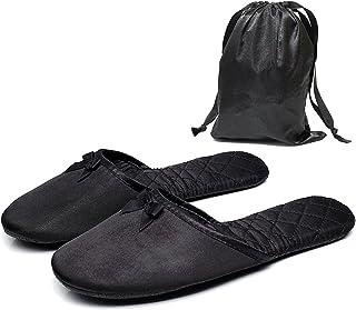 収納袋付 卒業式入学式授業参観用携帯スリッパ (L(〜約24cmまで), ブラック)