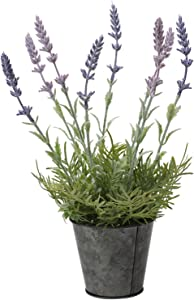 13 inches Artificial Lavender Flowers in Pot Fake Outdoor Plastic Plants Potted Lavender Plant Faux Silk Flower Arrangement for Home Office Garden Party Wedding Decor