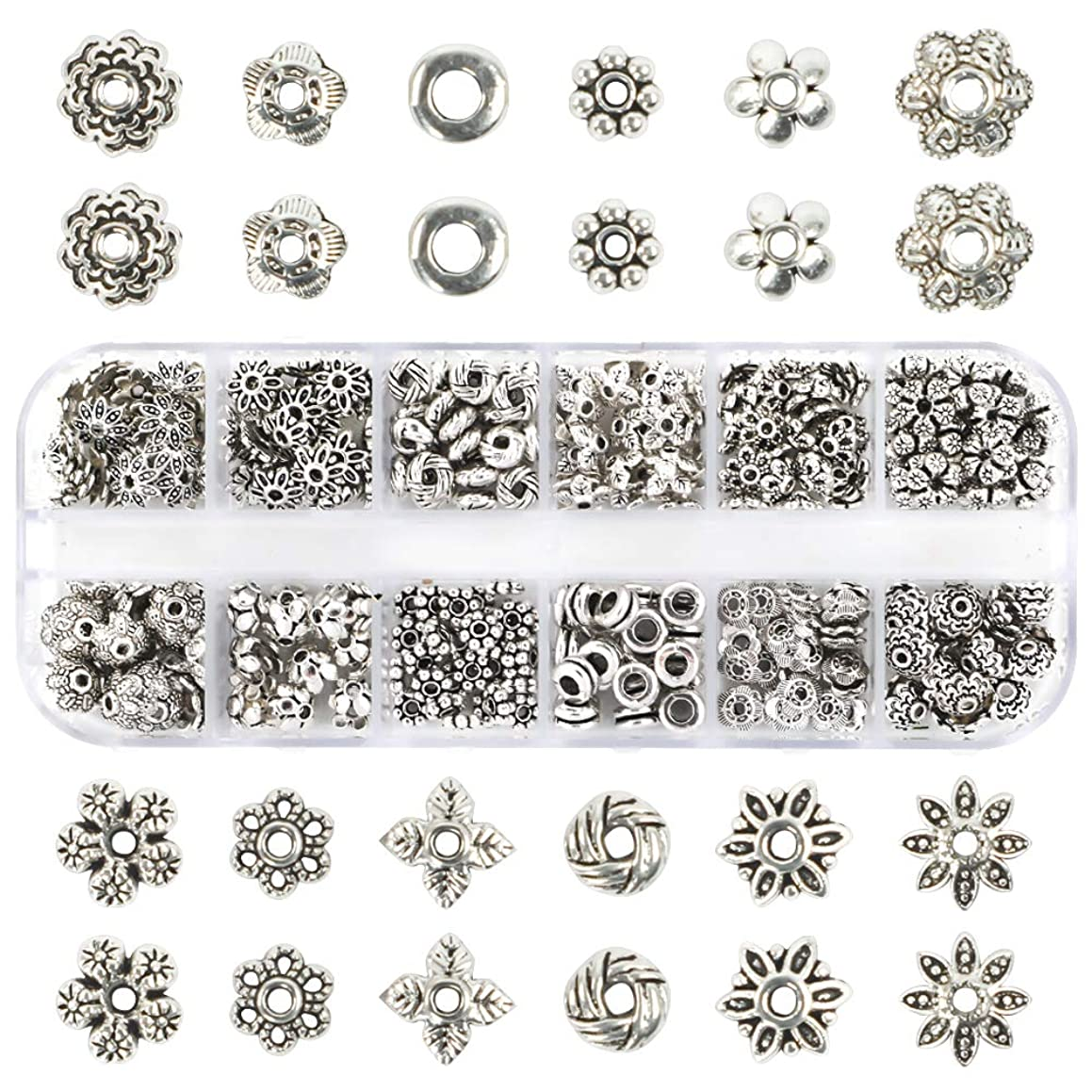 Quefe 360pcs Silver Spacer Beads of 12 Styles Jewelry Accessories for Bracelet Necklace Jewelry Making