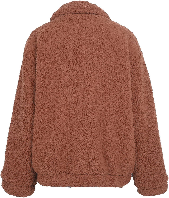 MsLure Damen Winter Jacke Faux Lambswool Kurz Oberbekleidung Übergröße Herbst Coat Mantel Braun