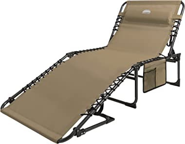 Coastrail Outdoor Folding Chaise Lounge Chair 4 Position Foldable Patio Recliner with Pillow Bonus Pockets, for Beach Layout