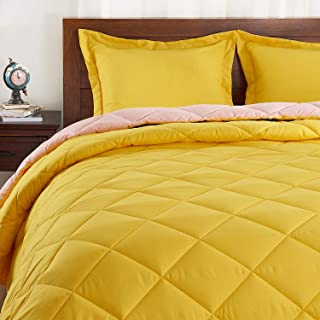 Basic Beyond Down Alternative Comforter Set (Queen, Lemon/Pink) - Reversible Bed Comforter with 2 Pillow Shams for All Seasons