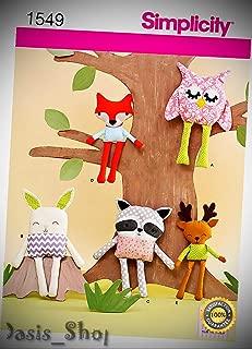 Simplicity 1549 Stuffed Woodsy Fox owl Deer Bunny Stuffed Animal Sewing Pattern - Ribbon Lyrical Dance Costumes, Sashes, Headbands