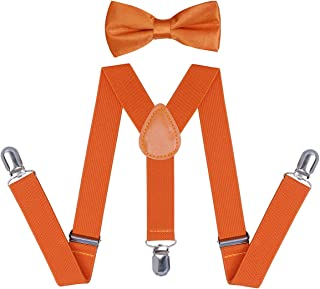Boys and Girls Orange Suspender Bow Tie Sets - Adjustable Braces With Bowtie for Kids and Adults by WELROG