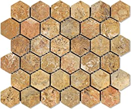 """Scabos Travertine 2"""" Hexagon Mosaic Tile, Tumbled - Box of 5 sq. ft."""
