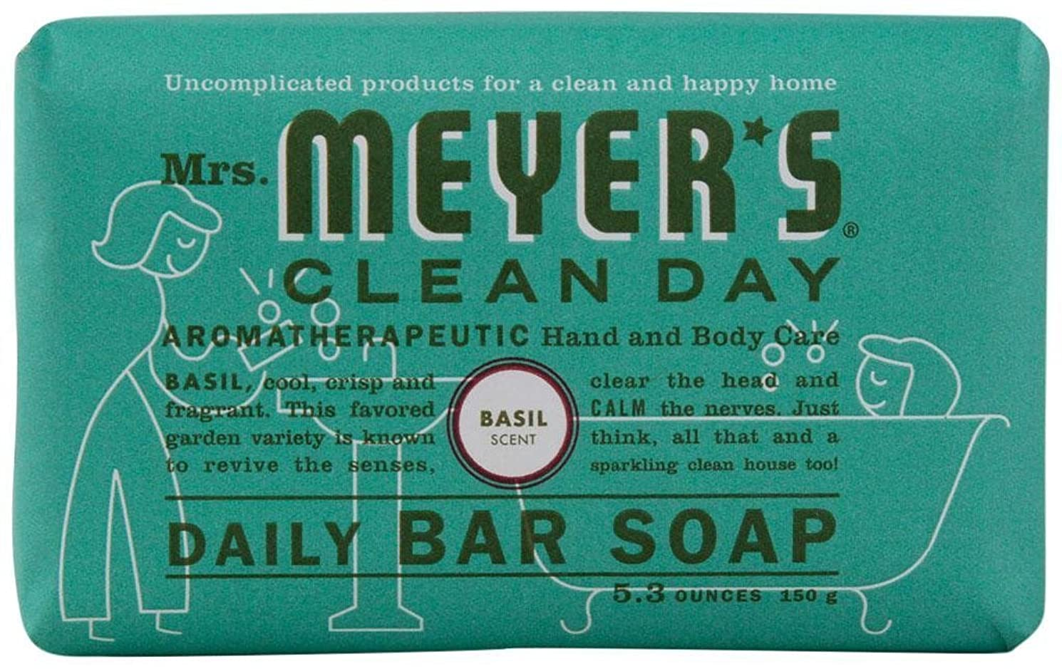 処理祝福するセーブMrs. Meyers Clean Day, Daily Bar Soap, Basil Scent, 5.3 oz (150 g)