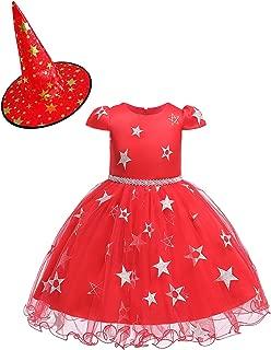 Blevonh Girl Cap Sleeve Pearl Princess Tutu Dresses Halloween Costumes with Hat