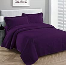 Fancy Collection 3pc Luxury Bedspread Coverlet Embossed Bed Cover Solid Dark Purple New Over Size 100