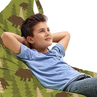 ABAKUHAUS Les Bois Jouet Sac de Rangement Chaise Lounge, Ours dans l'arbre pin sylvestre, Stockage pour Animal en Peluche ...