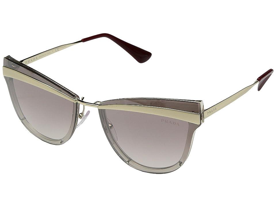 Image of Prada 0PR 12US (Beige Marrone Chiaro/Gradient Brown Mirror Silver) Fashion Sunglasses