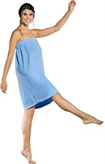 Turquaz Linen Lightweight Knee Length Spa/Bath Waffle Body Wrap with Adjustable Hook-and-Loop Tape