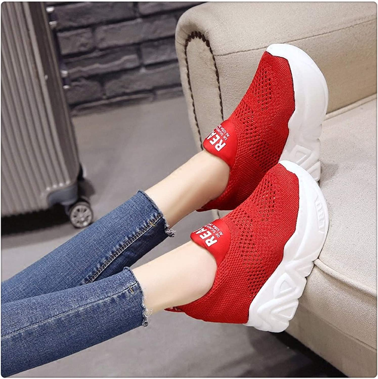 Xjizm 2018 Summer Breathable Mesh Sneakers Hidden Increasing shoes Women Wedge Casual shoes Slip on High Heels 11 cm Platform shoes Red 6.5