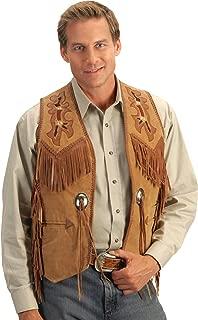 Men's Beaded Boar Suede Leather Vest - 755-409