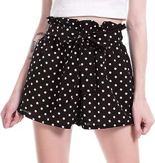 🎀 Women's Casual Polka Dot Ruffle Bow-Tie Elastic Waist Summer Beach Jersey Walking Shorts