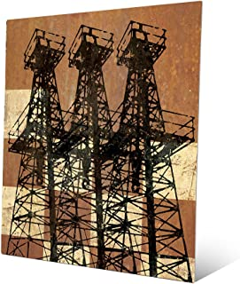 Amber Watch Tower: Distressed Antique Vintage Drilling Oil Oilfield Derricks on Antiqued Checker-Pattern Wall Art Print on Metal