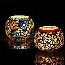 Karguzzari Glass Mosaic Candle Holder Turkish Design Diwali Gift Candle Holder Tealight Votive Holder Set of 2