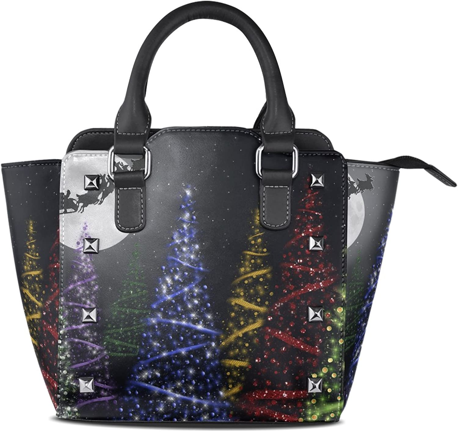 Sunlome colorful Christmas Trees in The Moonight Print Handbags Women's PU Leather Top-Handle Shoulder Bags