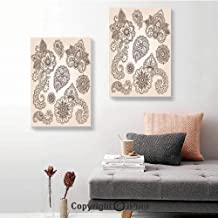 SfeatruRWF Canvas Wall Art Decor,Flowers and Paisley Pattern Doodles in Various Shapes and Designs Monochrome Image Decorative,16