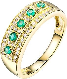 Daesar Anello in Oro Giallo 18K, Anelli Donna Fidanzamento 0.15ct Smeraldo Rotondo con Diamante 0.21ct Anelli Nuziali Oro