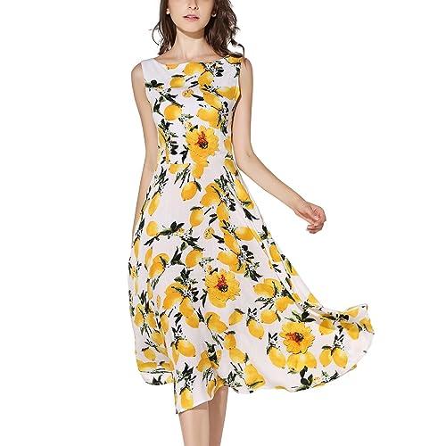 daffab3afb66 KIMILILY Women s Sleeveless Summer Lemon Printed Party Garden Swing Dresses