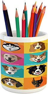 Lunarable Animals Pencil Pen Holder, Pattern with Dogs in Retro Pop Art Style Bulldog Hound Cartoon Animals Design, Ceramic Pencil Pen Holder for Desk Office Accessory, 3.6