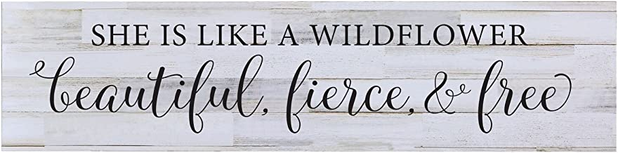 LifeSong Milestones She is Like A Wild Flower Baby Girls Wall Art Decorative Sign for Living Room entryway Kitchen Bedroom Office Decor Wedding Ideas (Distressed White Plank)