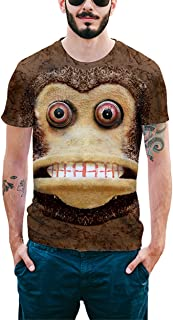 QUIQUOL Uomo Maglietta Estive Stampa 3D Girocollo Bluse Manica Corta T-Shirt Scimmia Divertenti Casual Popolare Tops