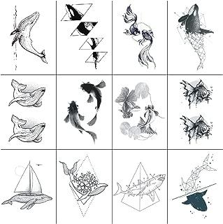 SanerLian Fish Geometry Tattoo Sticker Whale Dolphin Ocean Temporary Fake Tatoo Hand Arm Shoulder Adult Men Women 10.5X6cm Set of 12