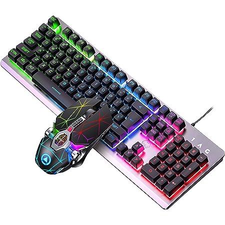 Juego de teclado para juegos de aleación de aluminio RGB de 104 teclas y ratón RGB para juegos