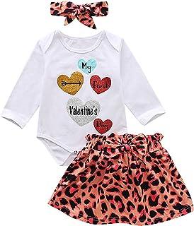 I3CKIZCE Neugeborenes Baby Valentinstag Kleidung Set 2PCS Langes Fliegendes Ärmel Rüschenoberteil Gestreift Plaid Herzdruck Hosenträger Rock Outfits Anzug 0-4 Jahre