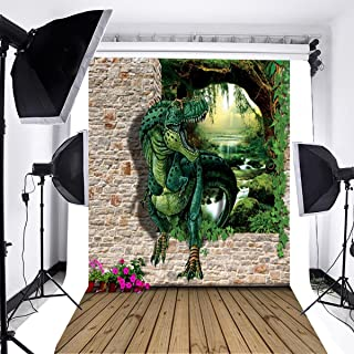 Laeacco 3x5ft Thin Vinyl Photography Backdrop Wood Floor and 3D Brick Wall with Dinosaur Scene Children Kids Adults Portraits 1X1.5m Photo Background Studio Props