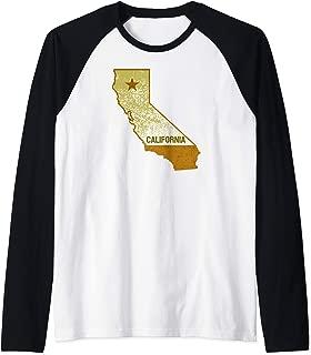 California State Map Grunge Light Texture Souvenir Gift Raglan Baseball Tee