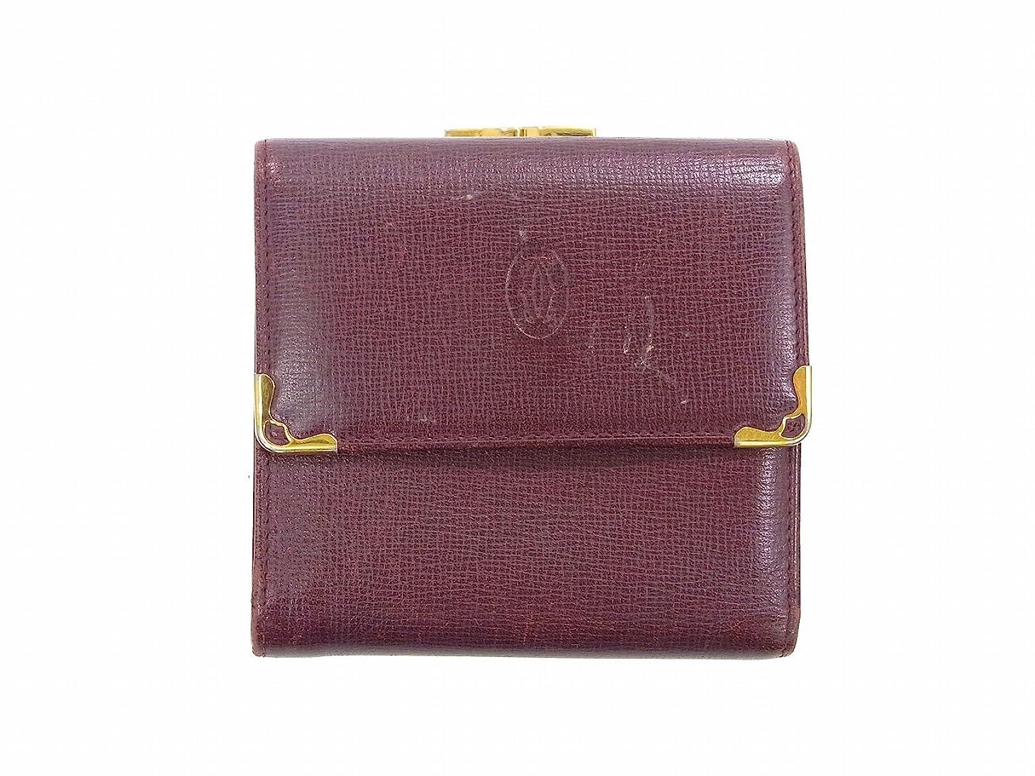 被るタバコ突き出す[カルティエ] Cartier 二つ折り財布 レザー X9358 中古