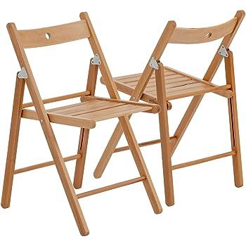 Chaises en bois pliantes couleur bois naturel lot de 2