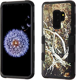 MyBat Cell Phone Case for Samsung Galaxy S9 Plus - Natural Yellow/Black Vine/Black Image