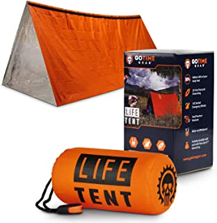 Go Time Gear Life Tent Emergency Survival Shelter � 2 Person Emergency Tent � Use As Survival Tent, Emergency Shelter, Tube Tent, Survival Tarp - Includes Survival Whistle & Paracord